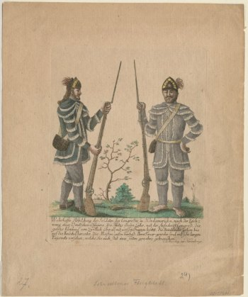 Difficulties between Continental forces and their Indian neighbors were due in large part to transgressions by frontier soldiers, shown here in a German engraving. Anne S.K. Brown Collection, Brown University.