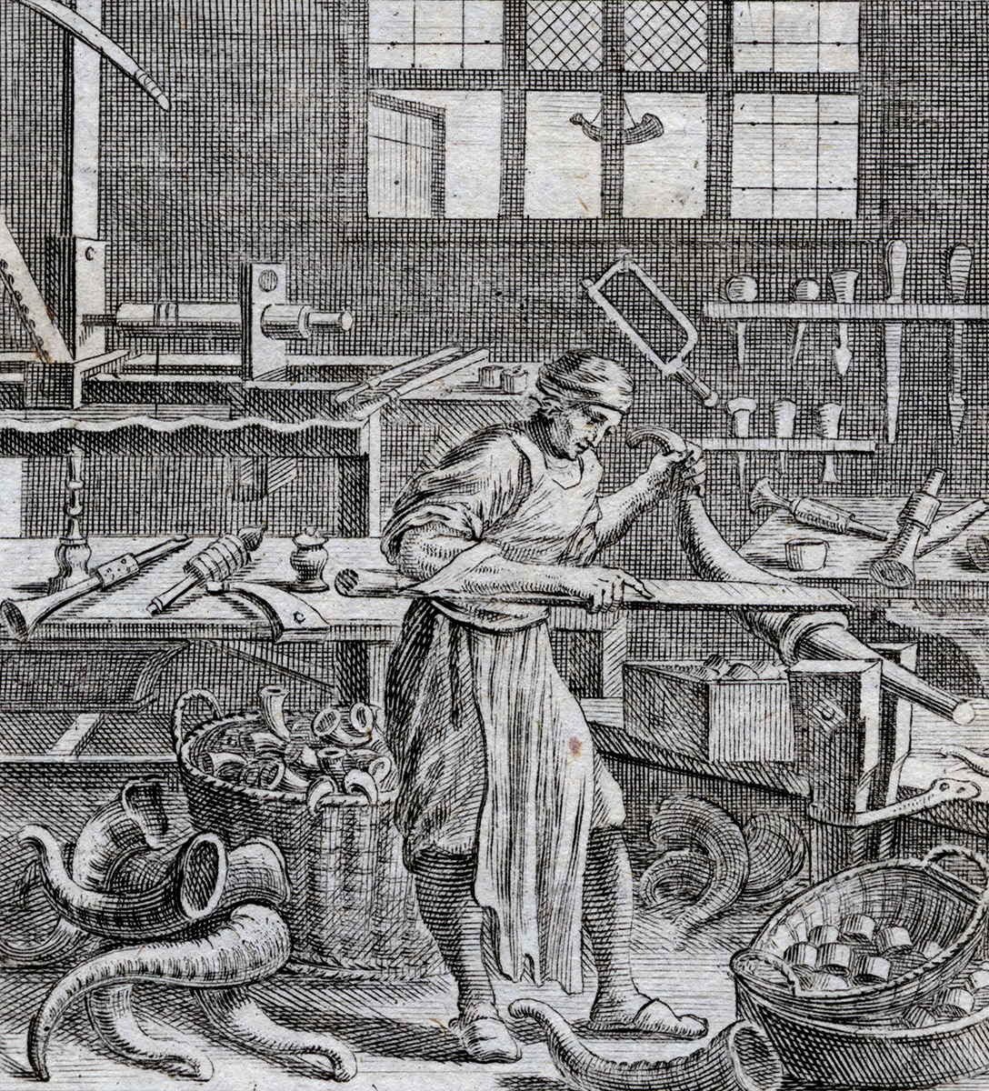 Horners used vast quantities of horns to produce a wide variety of finished goods. This Germanic engraving from the late 17th century illustrates tools and techniques that would have been familiar to many American craftsmen. Private collection.