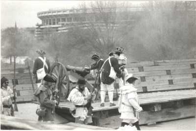 The Museum's roof was utilized for reenactments and demonstrations during the annual Colonial Fair, 1992.