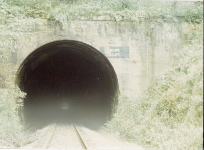 Entrance to the Stateline Tunnel, known at the time as Wabash Tunnel, that straddles the Pennsylvania/West Virginia border. Albert Miller Papers and Photographs, MSS 1095, Meadowcroft Rockshelter and Historic Village.