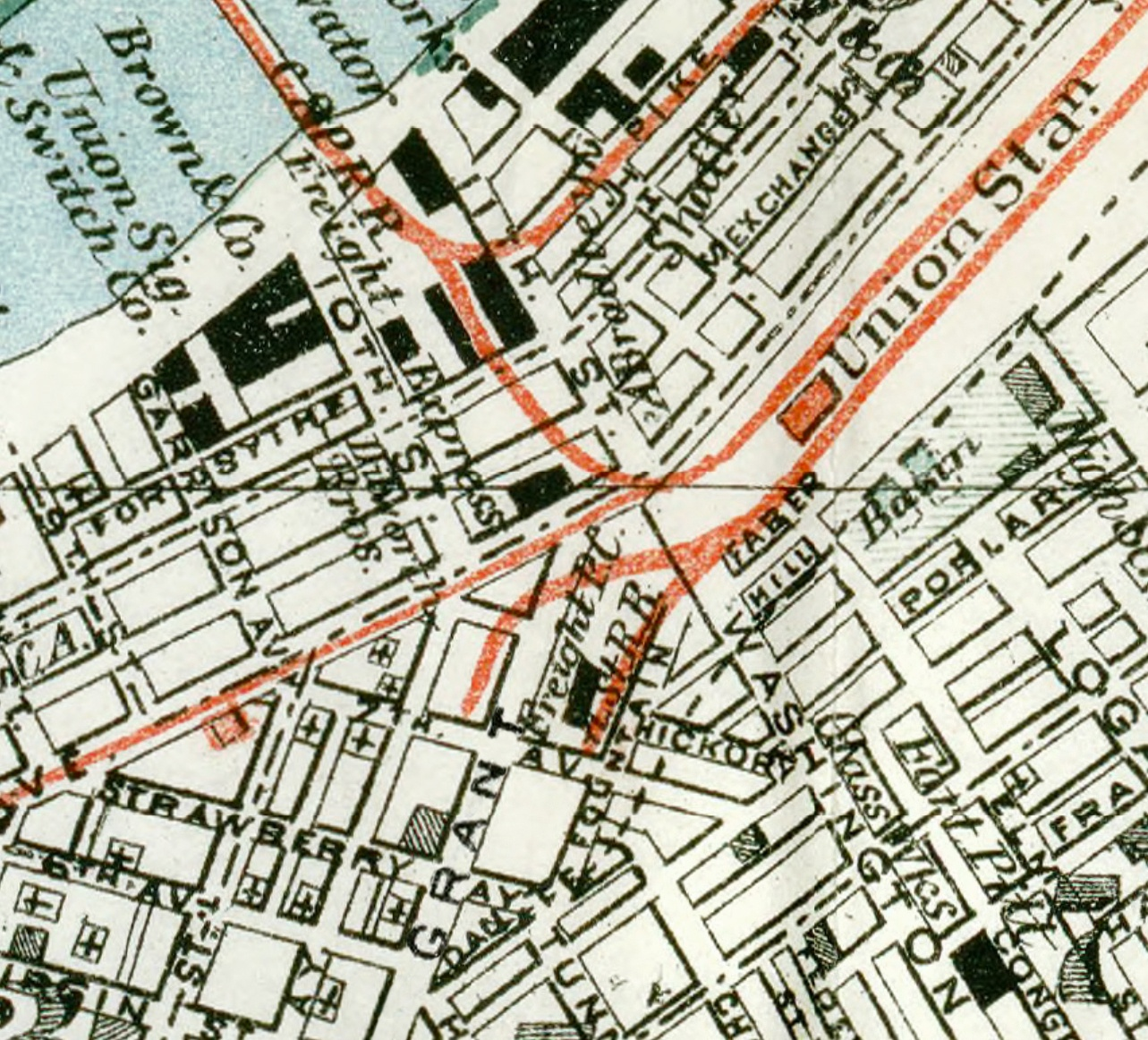 This 1884 map shows Grant still whole with tracks on each side plus a small PRR freight station.