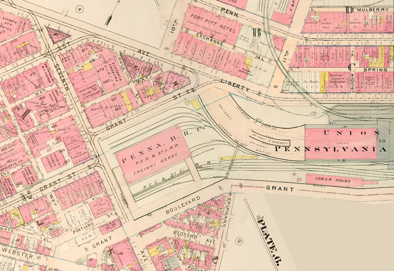 This 1914 map shows how Grant Street (lower left) was rerouted in the 1880s east of Seventh Avenue so that the Pennsylvania Railroad freight depot could be built adjacent to the passenger station.