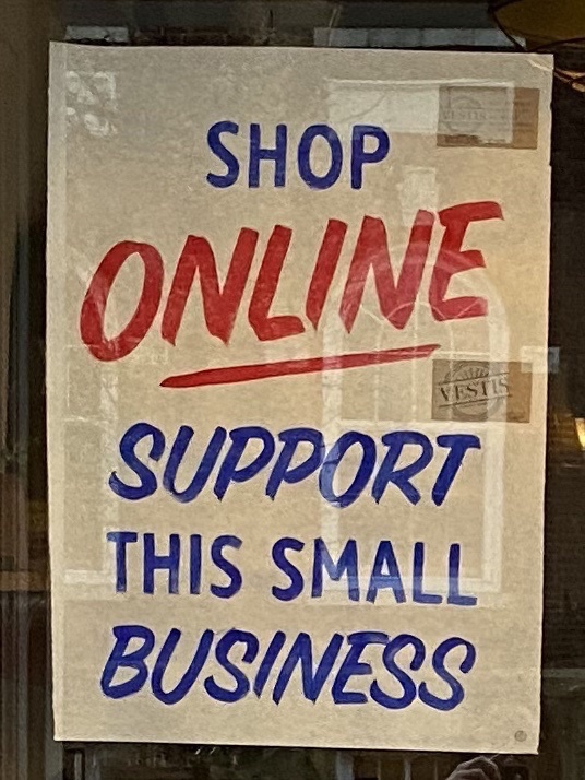 """""""Shop Online. Support This Small Business."""" Photo by Carly Lough. Detre Library & Archives at the History Center."""