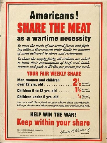 """Americans! Share the Meat as a wartime necessity,"" U. S. Government Printing Office, 1942. Courtesy of the Library of Congress."