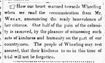A notice thanking the citizens of Wheeling for their generosity after Pittsburgh's Great Fire. The Pittsburgh Daily Gazette and Advertiser, April 18, 1845.
