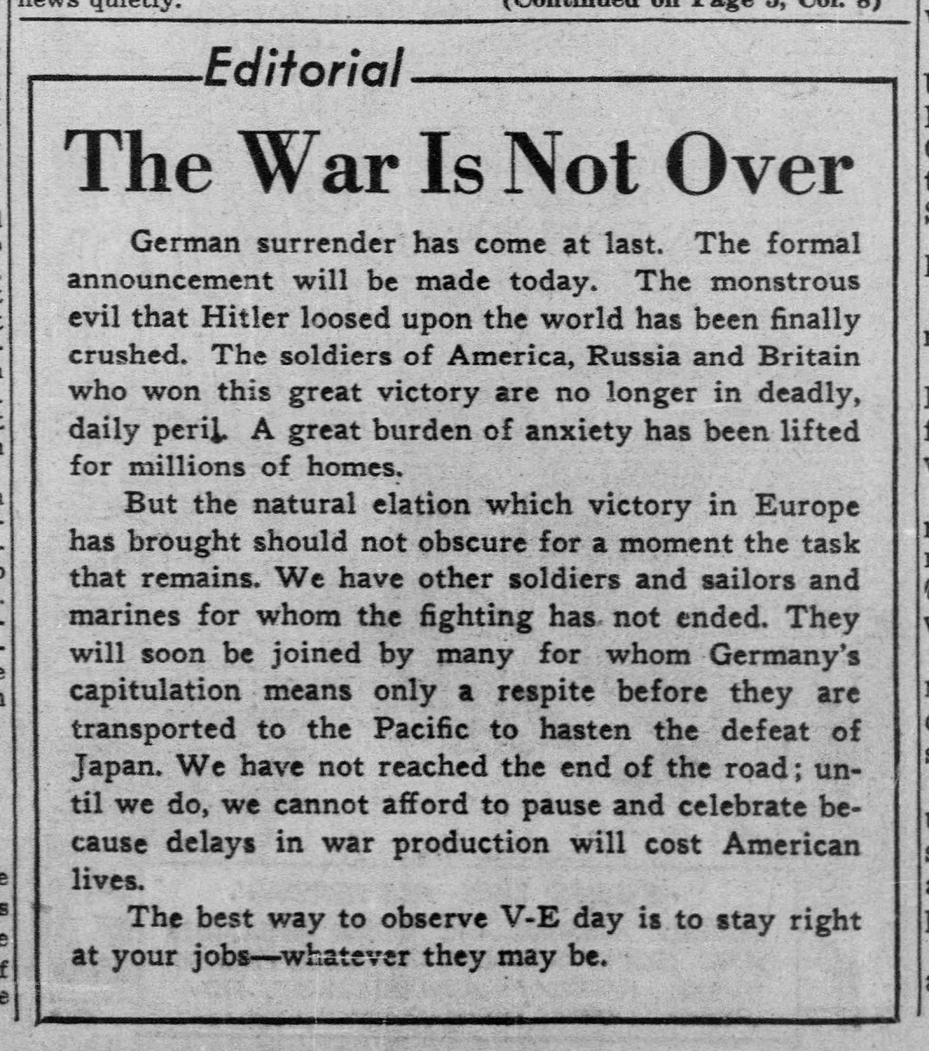 """The War is Not Over,"" Pittsburgh Post-Gazette, May 8, 1945."