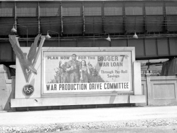 7th war Loan Fund Drive promotion on the grounds of Carnegie-Illinois Steel Corporation, May 8, 1945.