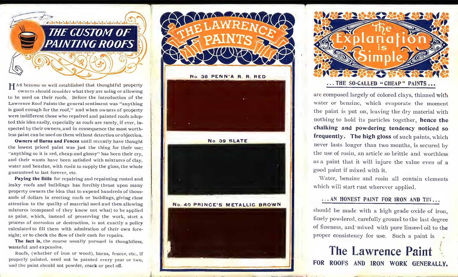 Lawrence roof and barn paint pamphlet, c. 1910. Advertisements, pamphlets, and trade catalogs are important primary sources to document past design and construction practices and can aid in the preservation of older structures. Building Technology Heritage Library.
