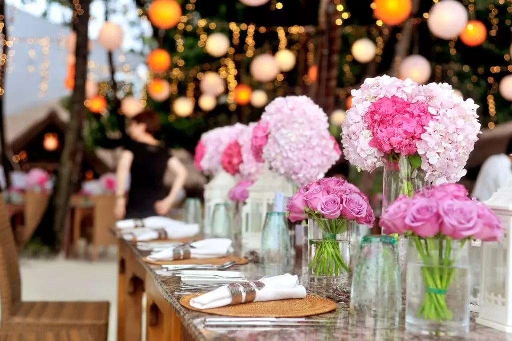 Rosa Tischdeko fr die Hochzeit  Heiraten  Hochzeit