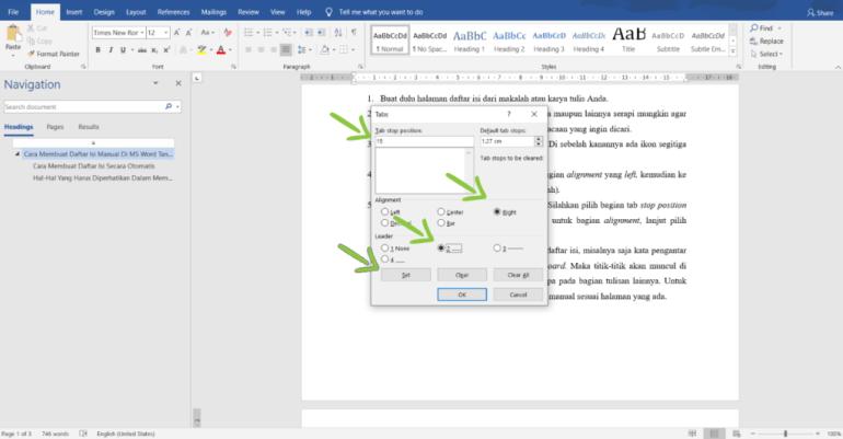 Cara Membuat Daftar Isi Manual di Word