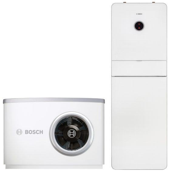 Junkers Bosch zeigt die Compress 8000i erstmals auf der ISH Energy in Frankfurt. Die Luft/Wasser-Wärmepumpe ist eines der ersten Geräte der Marke Junkers Bosch mit Bosch-Logo. (Quelle: Junkers Bosch)