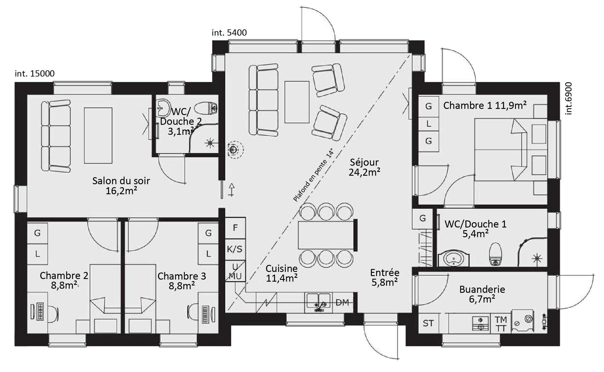 Maison en bois suedoise plan rdc maison ossature bois for Catalogue plan maison