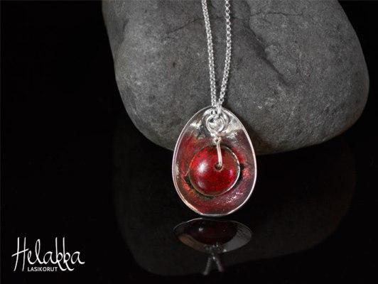 Helakka kaulakoru lasista punainen