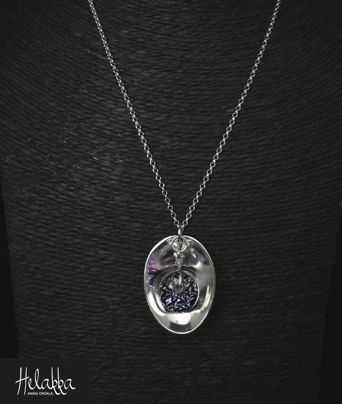 Kaulakoru hopealusikasta violetti