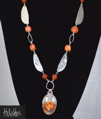 Helakka avainnauha avainkoru hopealusikoista oranssi