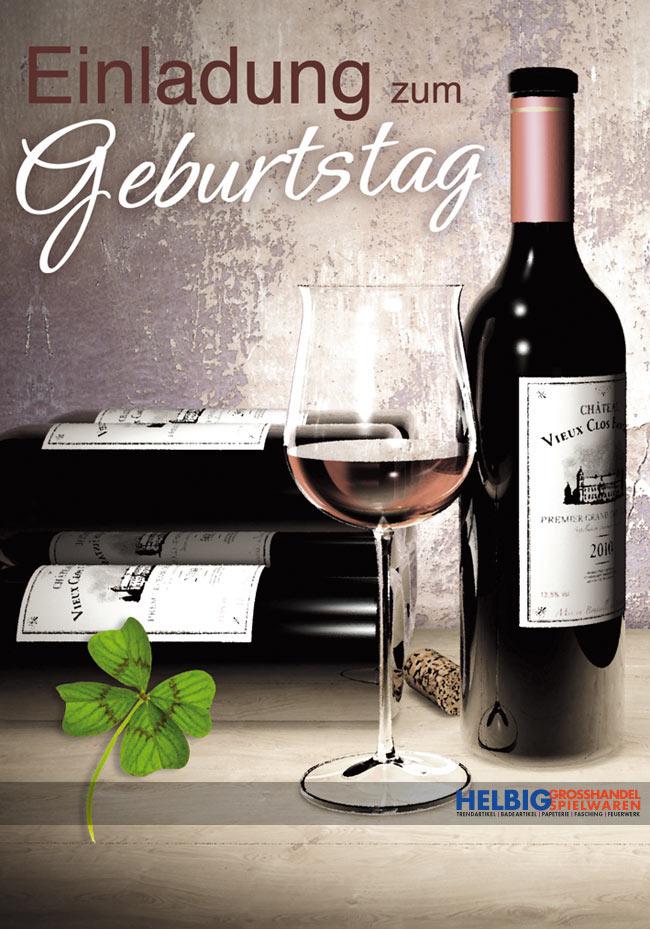 GeburtstagsEinladungskarten Weinglas  Weinflasche51003