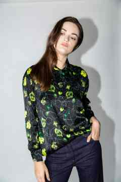 blouse beau green flowers