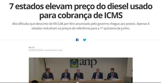 Paraiba aumenta preço do diesel Globo