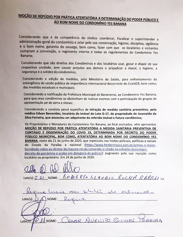 """Edvan Benevides mo%C3%A7%C3%A3o contra ele - Moradores assinam moção de repúdio contra médico """"ostentação"""" em condomínio de Bananeiras"""