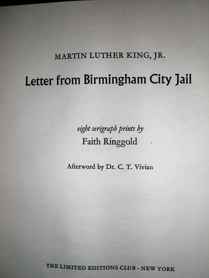 Letter From Birmingham City Jail  Martin Luther Jr King  This Edition Limited to 420 numbered