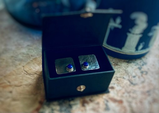 hammered sterling silver cufflinks with lapis lazuli cabochons