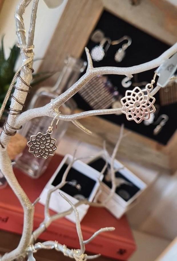 sterling silver mandala flower earrings