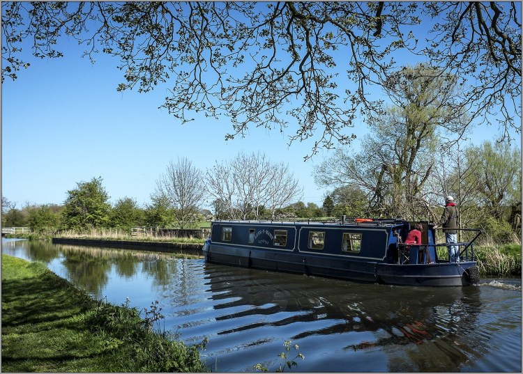 Longboat or narrow boat on the Lancaster Canal in lancashire