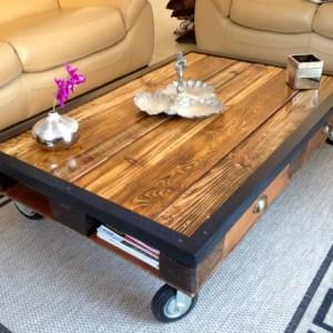 Table basse fourmi en bois massif sur hairpin legs - Table basse palette industrielle vintage ...