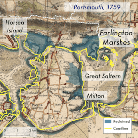 This map was made to set land reclamation into the cartographic and historic context: the 1759 map clearly shows the areas that used to be mudflat and islands.
