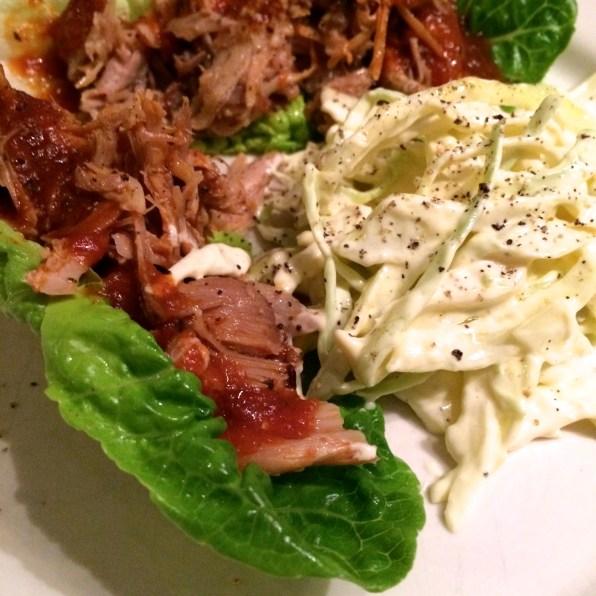 Pulled pork, BBQ saus og coleslaw
