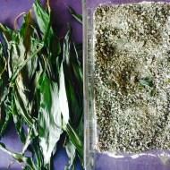 Ramsløksalt og tørket ramsløkblader