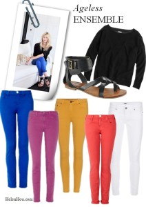 Ageless Ensemble--Colored Jeans and Sweatshirt