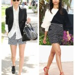 Monochrome Chic: Printed shorts & Polka Dot Skirt