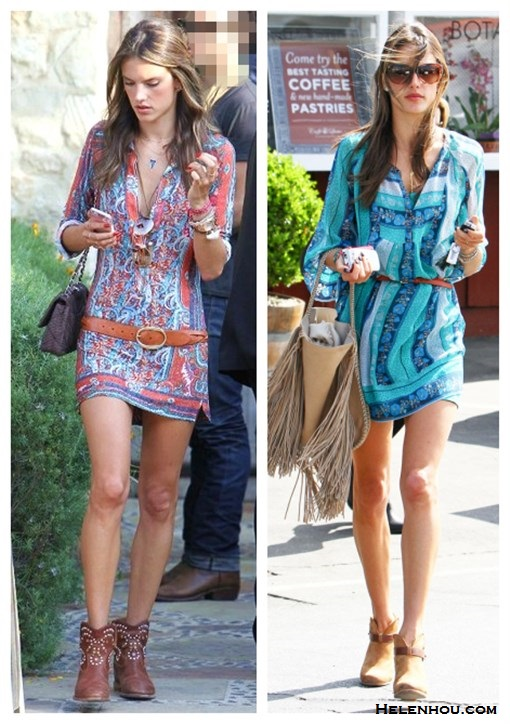 how to wear prints, summer festival outfit ideas, what to wear on vacation; Alessandra Ambrosio, street style, ankle boots, printed dress, brown belt, fringe bag,  On Alessandra Ambrosio: Isabel Marant printed dress,   Isabel Marant Elia Braid Belt in Cognac, Chanel bag,   Jacquie Aiche nacklace,  Ray Ban aviator sunglasses,   Isabel Marant The Caleen studded leather concealed wedge   boot; On Alessandra Ambrosio:Ella Moss Botanica Henley Dress,   Rag & Bone Harrow Nubuck Ankle Boot, Salvatore Ferragamo Resort 2013 Fringe Tassel Hobo Bag, turquoise   sunglasses, gold necklace, brown skinny belt,