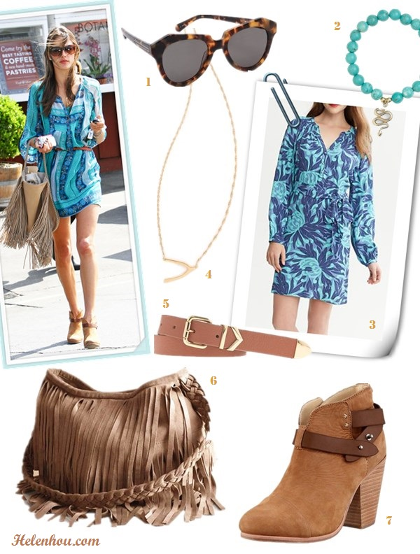 how to wear prints, summer festival outfit ideas, what to wear on vacation; Alessandra Ambrosio, street style, ankle boots, printed dress, brown belt, fringe bag,  On Alessandra Ambrosio:Ella Moss Botanica Henley Dress,   Rag & Bone Harrow Nubuck Ankle Boot, Salvatore Ferragamo Resort 2013 Fringe Tassel Hobo Bag, turquoise   sunglasses, gold necklace, brown skinny belt,  Alternative: 1. Karen Walker The Number One Sunglasses,  2. Cara beaded Stretch Bracelet,  3. Banana Republic Floral Shirtdress,  4. Jennifer Zeuner Jewelry Mini Wishbone Necklace,  5. J.CrewArrow keeper leather belt,  6. JJ Winters Suede Fringe Bag in Taupe,  7. Rag & Bone Harrow Nubuck Ankle Boot, Camel,