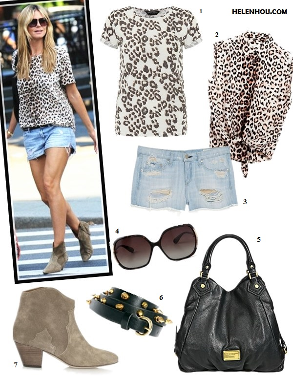 how to wear distressed denim shorts; summer outfit ideas;how to wear ankle boots;   On Heidi Klum: leopard print top, distressed denim shorts, Isabel Marant The Dicker suede ankle boots, Jimmy Choo solar studded hobo bag,studded belt;  Alternatives: 1. Dorothy PerkinsAnimal print tee,  2. Equipment Diem Tie Front Shirt in Natural Leopard,  3. Rag & Bone/JEAN The Cutoff Shorts,  4. Marc by Marc Jacobs Oversized Sunglasses,  5. Marc by Marc Jacobs Classic Q Francesca Tote Bag,  6. ASOS Mixed Stud Skinny Waist Belt,  7. Isabel Marant The Dicker suede ankle boots,