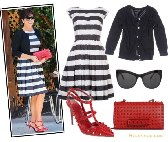 how to wear black and white; how to wear ankle strap shoes;  Kris Jenner, striped dress, black cardigan, red valentino pump, red valentino studded clutch, black dress, white cardigan, colorblock ankle strap pump,  On Kris Jenner: Dolce & Gabbana Striped Sleeveless Dress,   Valentino Rouge Patent Leather Rockstud T-Strap Pumps,    Valentino Rouge Rockstud Chain Flap Bag,  alternatives:  ATM Anthony Thomas Melillo Combo Cardi, Elizabeth and James Lafayette Cat Eye Sunglasses