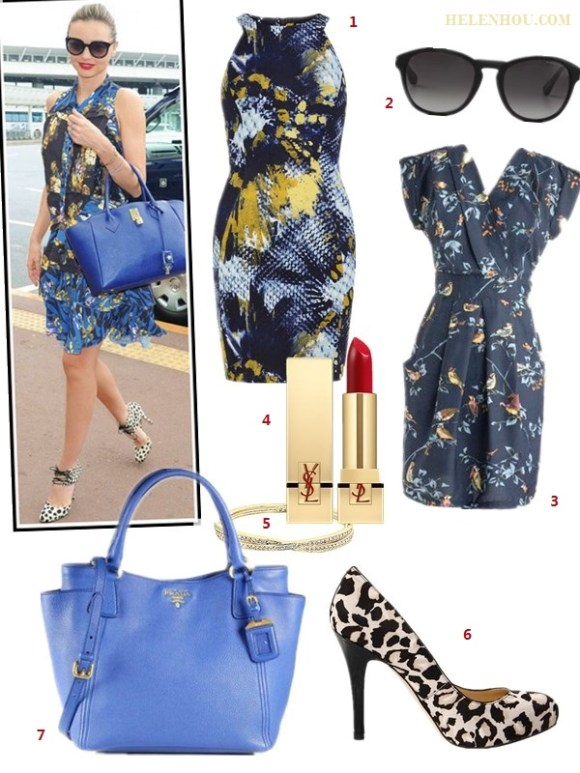 Miranda Kerr, orange print dress, blue leather bag, leopard print shoes, blue print dress, airport style   how to wear a floral print dress, how to wear leopard print, Miranda Kerr, airport style. On Miranda Kerr: Alexander McQueen blue print dress,  Samantha Thavasa blue leather bag, Bionda Castana animal print lace up pumps, Marc Jacobs sunglasses.   Alternatives:  1. Dorothy Perkins Navy print scuba dress,  2. Marc by Marc Jacobs round sunglasses,  3. Modcloth bird print blue dress,  4. Yves Saint Laurent Rouge Pur Couture' Lip Color,  5. Swarovski Hinged Crossed Band Bangle,  6. Ivanka Trump leopard print pump,  7. Prada Daino Side-Pocket Tote Bag,