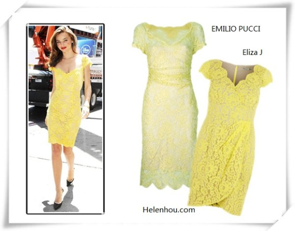 how to wear yellow dress; Featured: Dawn and Jae Goodman,   Miranda Kerr, Mena Suvari, Olivia Palermo, Jessica Stam,   Olivia Palermo; On Miranda kerr:  Reem Acra yellow lace dress; Lanvin   pumps;  Alternatives:  EMILIO PUCCIlace dress,  Eliza J Lace Dress,