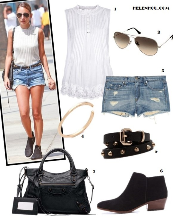how to wear distressed denim shorts; summer outfit ideas;how to wear ankle boots;   On Nicole Richie: white pleated high neck top, distressed denim shorts, black ankle boots, studded belt, balenciaga motorcycle bag;  Alternatives:  1. HIGH 'Allure' sleeveless blouse,  2. Ray-Ban Aviator Original sunglasses, 3. Rag & Bone/JEAN The Mila Shorts ,  4. House of Harlow 1960 Horseshoe Bangle, 5. MANGO Studded slim belt, 6. Sam Edelman Petty Suede Booties,  7. Balenciaga Classic Town Bag,