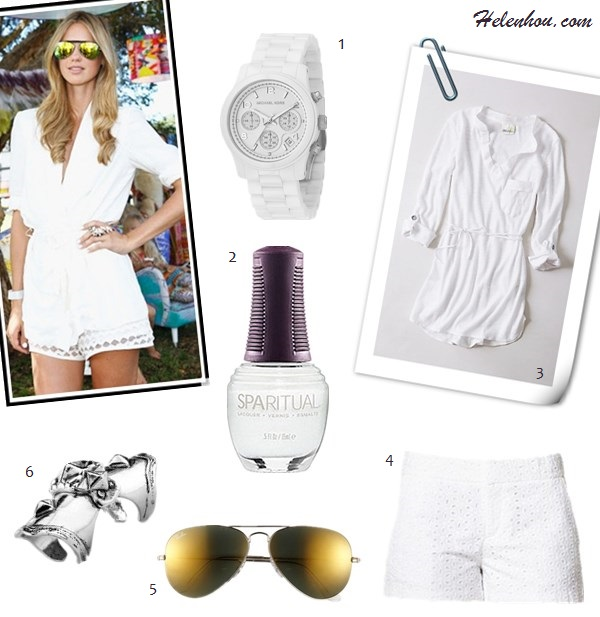 how to wear lace shorts; How to Wear White; festival   outfit ideas;  Nikki Phillips, Alessandra Ambrosio, Kate Bosworth,   coachella 2013, white lace shorts, embroidered top,   embellished tank, ankle boots, aviator sunglasses;  On Nikki Phillips: Alice McCall white top, Tony Bianco   mirror aviator Sunglasses, white eyelet shorts, Knuckle   Ring; Alternatives: 1. MICHAEL Michael Kors Runway Watch,  2. Sephora SpaRitual Nail Lacquer,  3. Anthropologie Fluttered Tunic Henley,  4. FOREVER 21  Eyelet Shorts,  5.  Ray-Ban mirror aviator sunglasses,  6. Low Luv by Erin Wasson Armour Knuckle Ring,