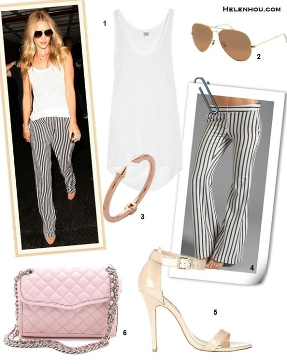 How to wear stripe pants, how to wear wide-leg pants, Nicole Richie, Rosie Huntington, party outfit, street style, spring/summer.  On Rosie Huntington-whiteley: white top, Gerard Darel striped pants,  Emilio Pucci bag,  Brian Atwood strap sandal, Jacquie Aiche jewelry, aviator sunglasses.  Alternatives:   1. OAK Draped jersey tank, 2. Ray-Ban Aviator Original, 3. Vita Fede Mini Titan gold spike Bracelet , 4. camilla and marc Clipped Striped Trouser,  5. Steve Madden REALOVE ankle strap sandal,  6. Rebecca Minkoff 'Affair - Mini' Convertible Crossbody Bag,