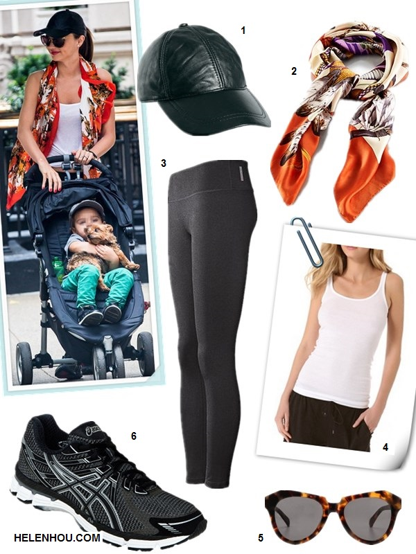 What to Wear to Workout; Miranda Kerr; Workouts for Busy Moms; What to wear to the park; On Miranda Kerr: white tank top, orange printed scarf, black leggings, leather baseball cap, sneakers;  Featured: 1. ASOS Leather Cap,  2. Ralph Lauren Southwestern-Print Silk Scarf ,  3. Zella Live In' Leggings (Black),  4. Vince Favorite Tank,  5.Karen Walker 'The Number One'sunglasses,  6. 'ASICS GT 2000' Running Shoe,
