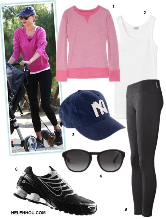 What to Wear to Workout; Miranda Kerr; Workouts for Busy Moms; What to wear to the park; On miranda Kerr: purple pink sweatshirt, black leggings, nike sneaker, blue ball cap;    Featured:   1.Current/Elliott The Stadium Sweatshirt,  2. Splendid 1x1 Tank Top,  3. Ebbets Field Flannels® for J.Crew Brooklyn Eagles twill ball cap,  4. Marc by Marc Jacobs Round Sunglasses,  5. Zella 'Live In' Leggings (Black),  6. NikeNike Shox Navina SI running shoes