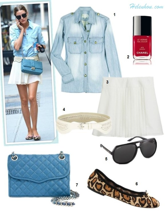 How to wear a chambray/denim shirt; How to wear pleated skirt; summer outfit idea 2013, street style, Olivia Palermo, Alessandra Ambrosio, white skirt, dior blue bag, leopard flats, striped shorts, strappy sandal, mulberry alexa,  On Olivia Palermo: 7 For All Mankind Slim Western Denim   Shirt, white pleated skirt, white leather belt, French   Sole leoaprd ballet flats, Christian Dior crossbody bag, 	  Celine aviator sunglasses;  Alternatives: 1. Current/Elliott The Perfect Shirt,  2. Chanel NAIL COLOUR 'Dragon',  3. GUESS by Marciano Elin Kling for GUESS white pleated skirt,  4. BCBG Whip-Stitch Waist Belt,  5. Gucci Oversized Aviator Sunglasses,  6. Sam Edelman leopard ballet flat,  7. Rebecca Minkoff 'Affair - Mini' Convertible Crossbody Bag