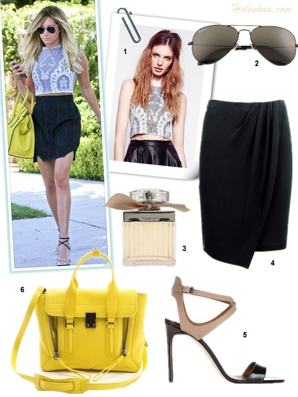 How to wear crop tops, How to wear lace tops; street style, Vanessa Hudgens, Ashley Tisdale, lace crop top, white pants, strap sandal, Givenchy 'Nightingale', black skirt, yellow bag, aviator sunglasses,spring/summer outfit ideas 2013,   On Ashley Tisdale: For Love & Lemons Anna crochet embroidered Crop top, Ray-Ban Aviator sunglasses, Christian Louboutin ankle strap sandal, black skirt, yellow Celine bag;   Alternatives: 1. Topshop floral Lace Crop Top,  2. SunaharA Malibu Suna Ring Set,  3. ASOS Peg white linen Pants,  4. Givenchy Nightingale Satchel,  5. Illamasqua Nail Varnish 'Spartan',  6. Steve Madden nude ankle strap sandal,