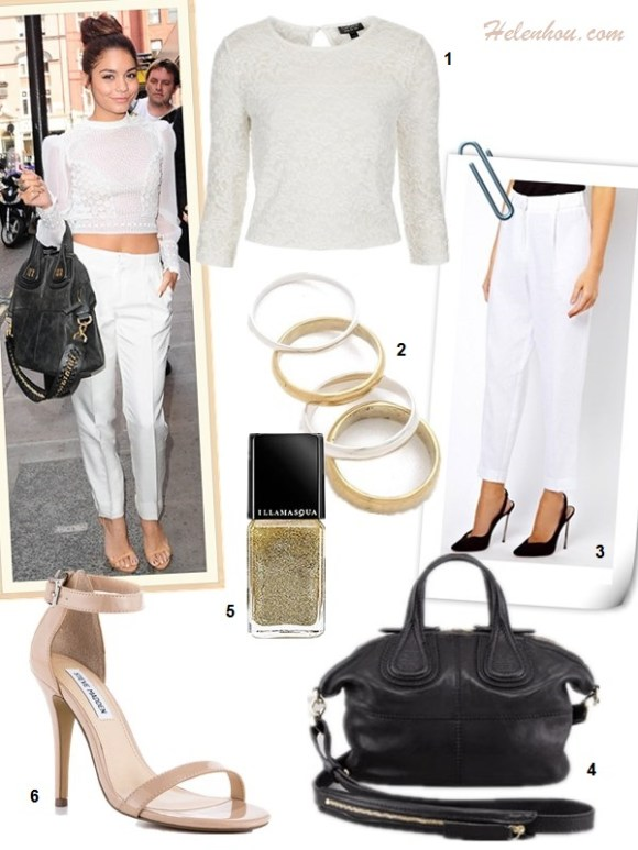 How to wear crop tops, How to wear lace tops; street style, Vanessa Hudgens, Ashley Tisdale, lace crop top, white pants, strap sandal, Givenchy 'Nightingale', black skirt, yellow bag, aviator sunglasses,spring/summer outfit ideas 2013,   On Vanessa Hudgens: Catherine Malandrino white crop top, Catherine Malandrino white high waisted pants,  Giuseppe Zanotti nude strappy sandal, Givenchy 'Nightingale' medium tote;   Alternatives: 1. For Love & Lemons Anna lace Crop in Ivory,  2. Ray-Ban aviator sunglasses,  3. Chloé Eau de Parfum Spray,  4. Isabella Oliver 365 The Drape Skirt with asymmetrical hem,  5. Reed Krakoff Color-block rubberized and patent-leather sandals,  6. 3.1 Phillip Lim Pashli Medium Satchel,