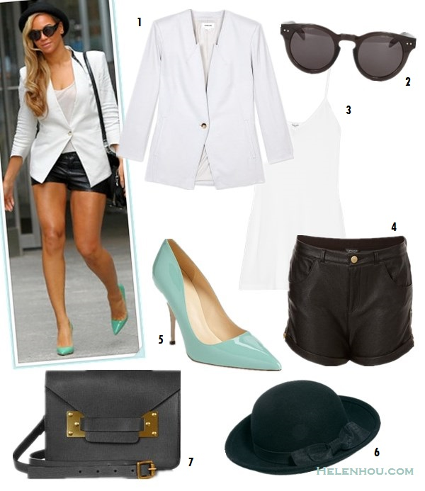 how to wear leather shorts; Floral print blazer; white blazer; colored pumps; Summer outfit ideas; Lily Collins,Beyoncé, street style, party outfits;  On Beyoncé: Helmut Lang white Tailored blazer, white top, black leather shorts,  Karen Walker sunglasses, Jimmy Choo green pumps, Alexander Wang Devere Satchel, black fedora hat;  Alternatives:  1. HELMUT LANGLINEN SLUB TWILL JACKET,   2. House of Harlow 1960 Carmen Sunglasses in Black,   3. Splendid Stretch Camisole,   4. Topshop Zip Side Leather Look Shorts,   5. Kate Spade New York 'licorice too' pump,   6. ASOS Wider Roll Brim Felt Boater,   7. Sophie Hulme Khaki Leather Mini Envelope Crossbody Bag,