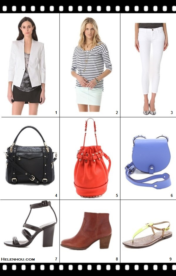 Shopbop top sale picks, featured: 1. HELMUT Helmut Lang Linen Slub Twill Blazer, 2. Splendid Miami Stripe Long Sleeve Tee,  3. Current/Elliott The Stiletto Jeans, 4. Rebecca Minkoff Cupid Satchel, 5. Alexander Wang Diego Bucket Bag,  6. Rebecca Minkoff Skylar Mini Cross Body Bag,  7. Alexander Wang Anjelika High Heel Sandals,  8. Madewell Leather Zipcode Booties,  9. Sam Edelman Gigi Snake T Strap Sandals