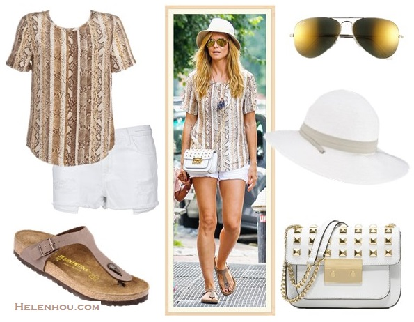 The art of accessorizing-street style,  white denim shorts, Heidi Klum, snake print top, studded bag